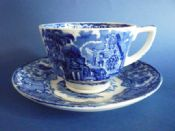 George Jones Blue and White 'Abbey' Ware Teacup and Saucer c1915